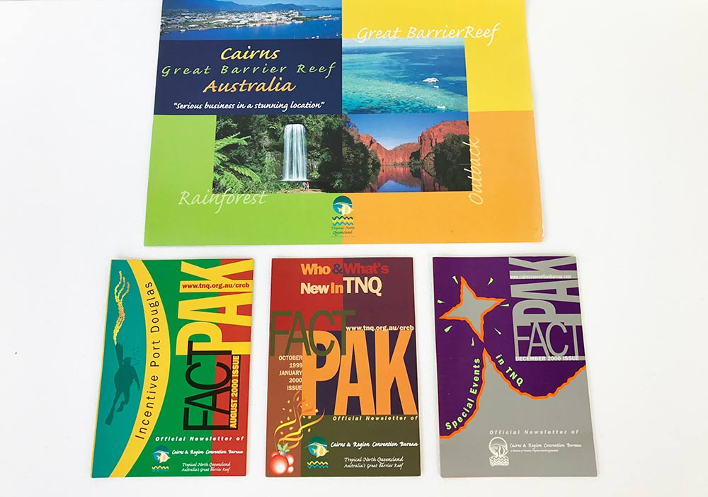 various colorful brochures