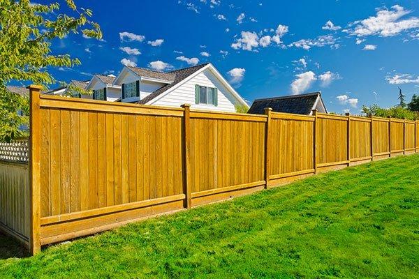 Long wooden cedar fence