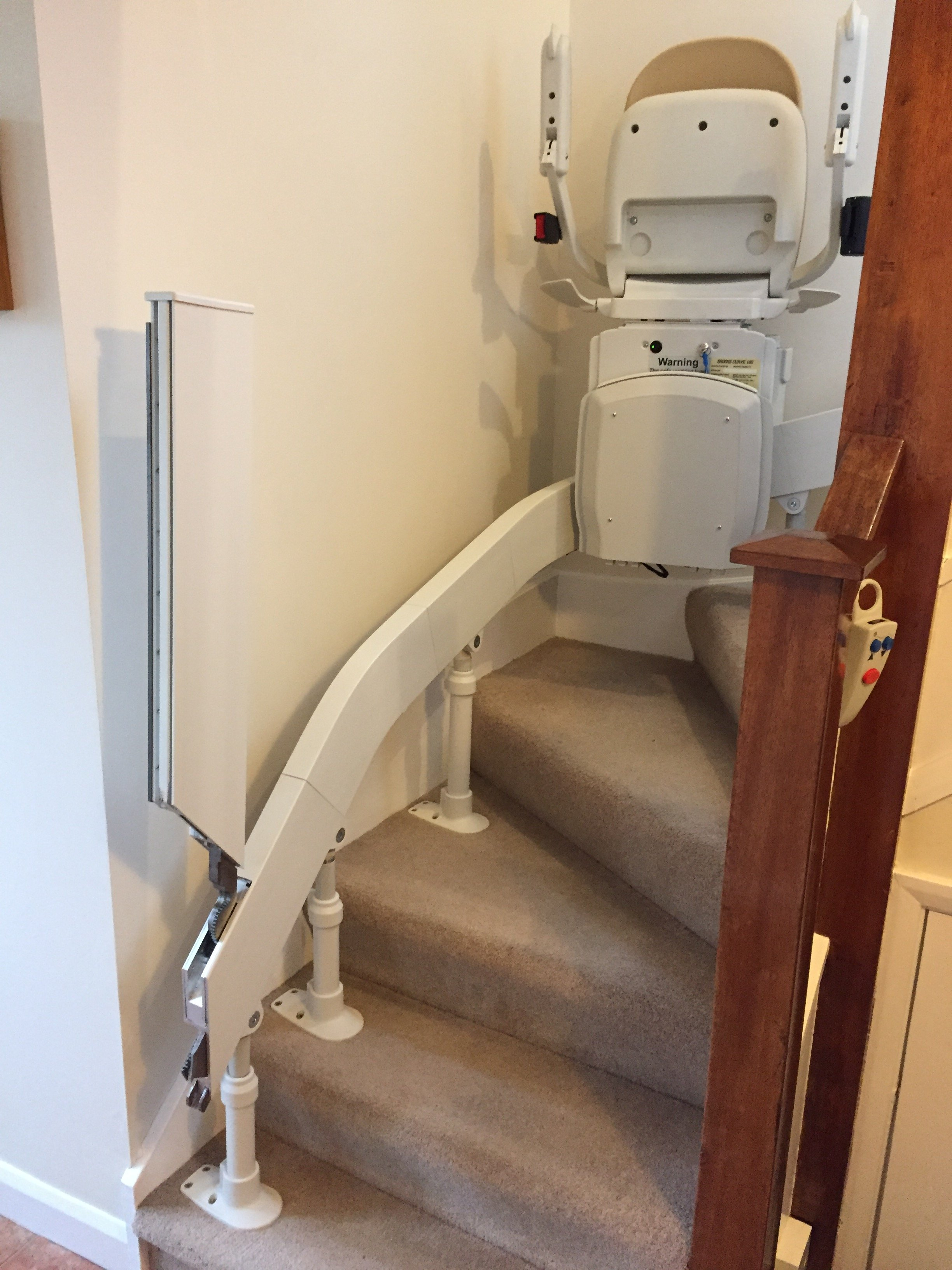 Curved stairlift, Congleton, Cheshire. Helping Hand Stairlifts.