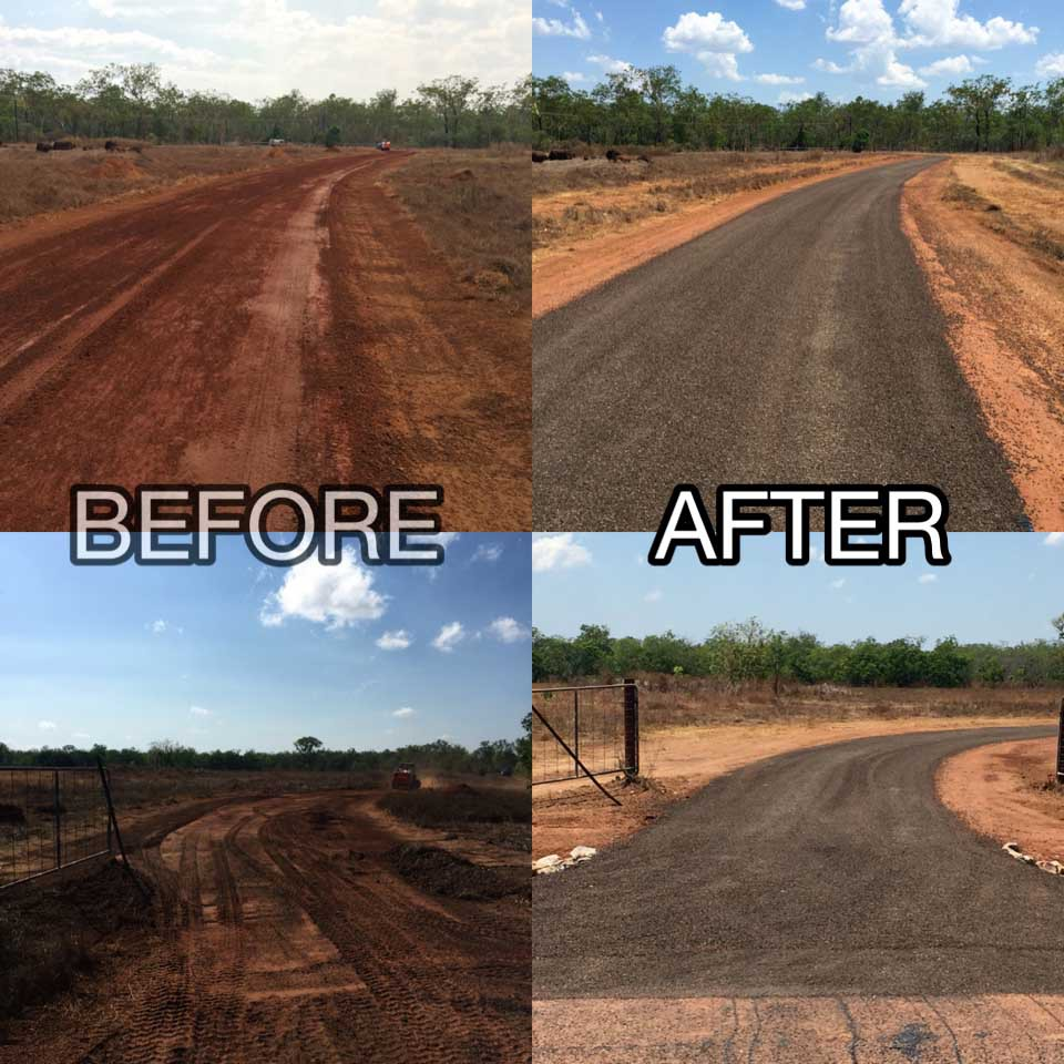 Before and after view of the road construction