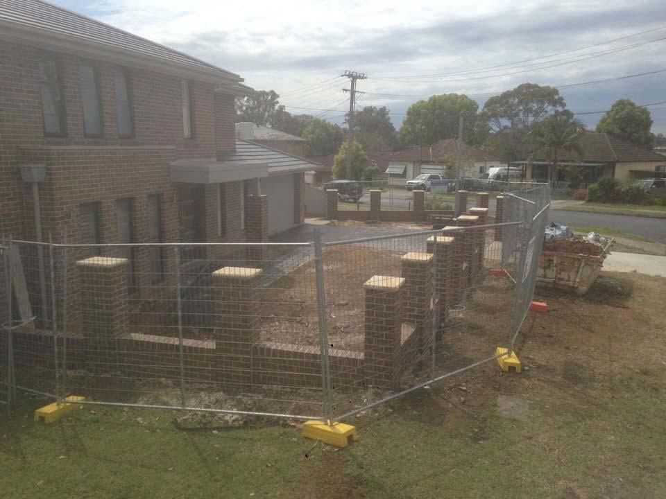 yard with bricks