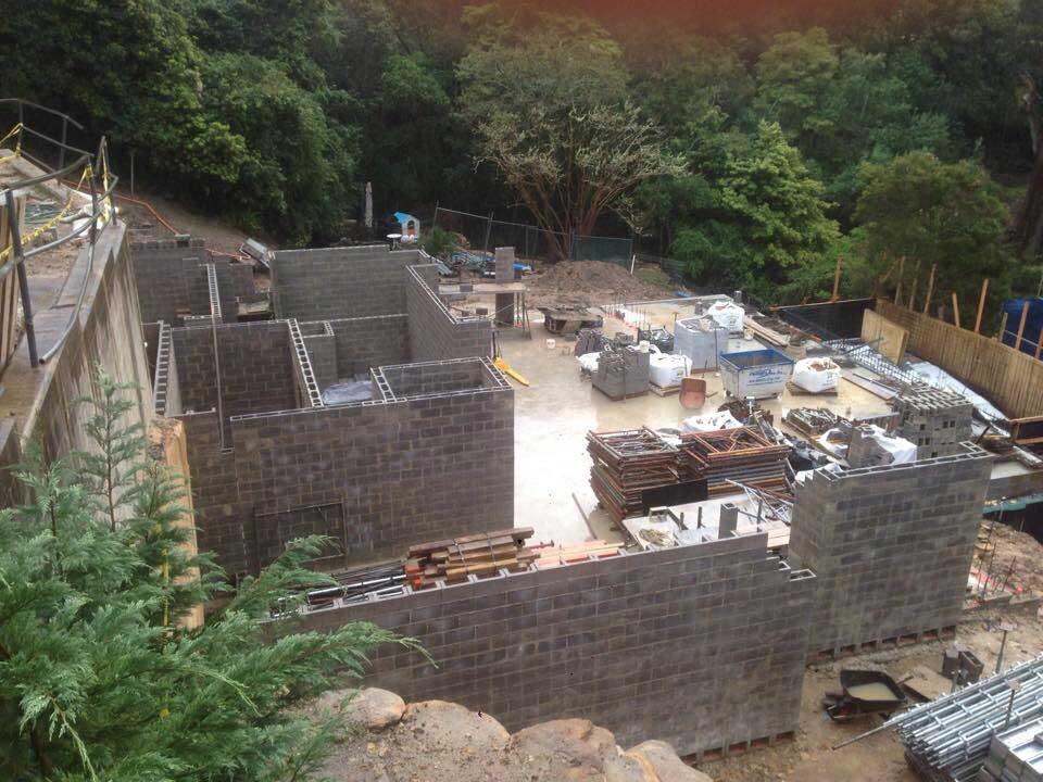 brick foundation on hill