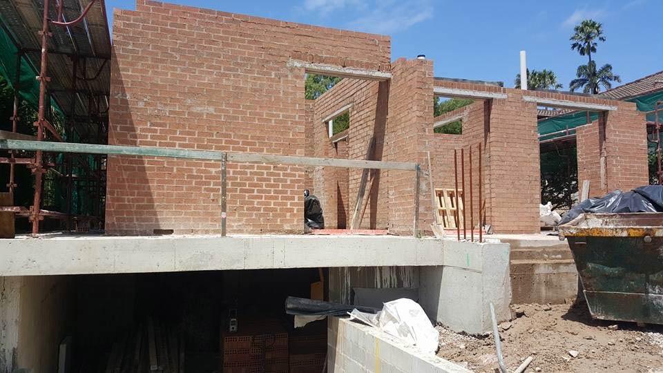 brick foundation of red bricks