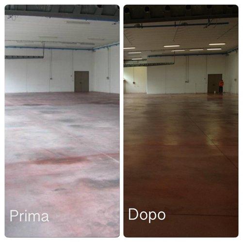prima e dopo  di un pavimento sistemato
