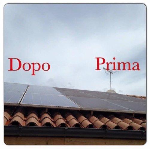 prima e dopo pulizia tegole di un tetto