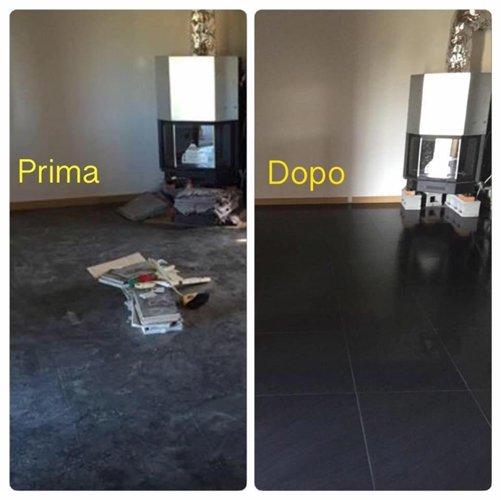 prima e dopo di un pavimento pulito
