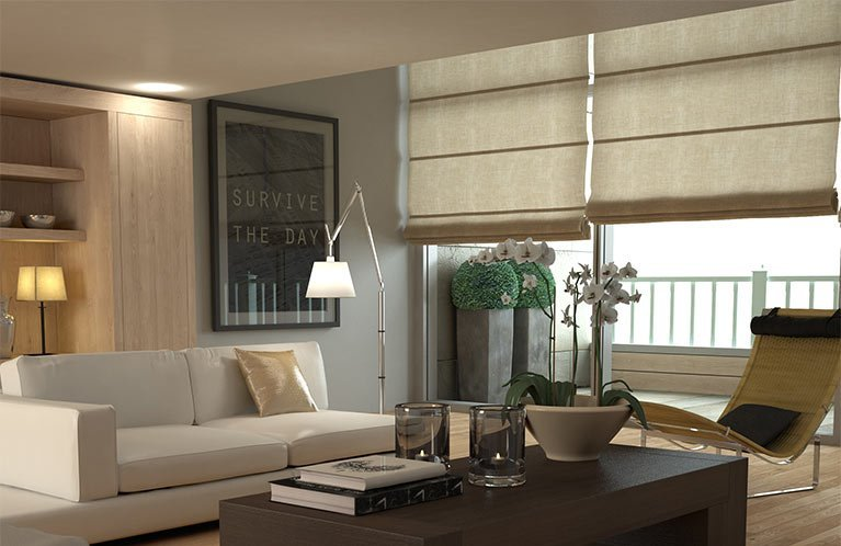 neutral shade roman blinds