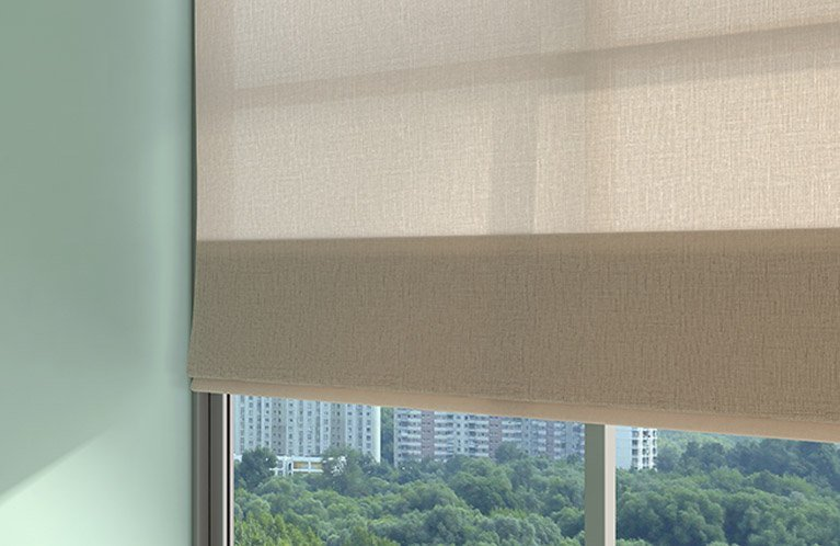 taupe double roller blinds
