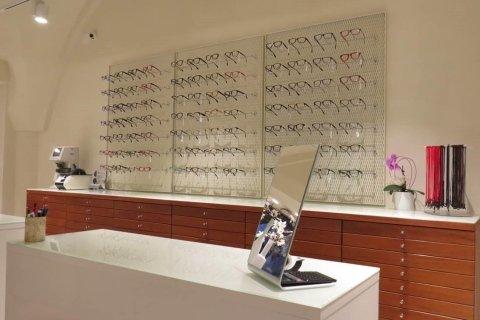 diversi modelli di occhiali da vista dietro un tavolo bianco con specchio