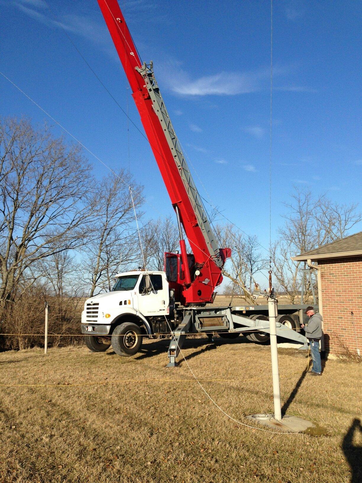 Crane operator working in a construction area in Cincinnati, OH.