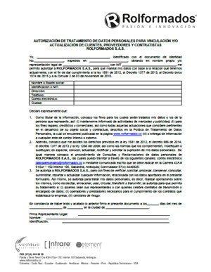 Autorización para el Tratamiento de Datos Personales Clientes Proveedores y Contratistas Rolformados