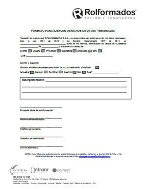 Formato para Ejercer Derechos de Datos Personales