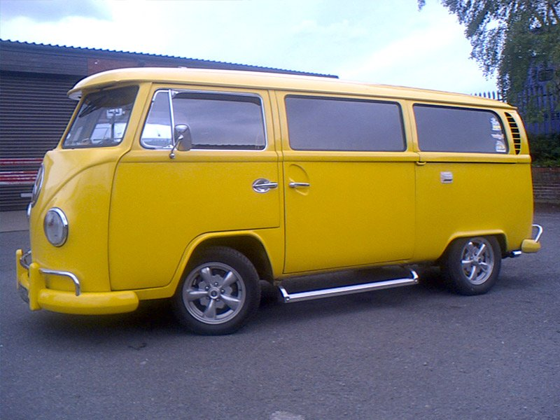 a yellow van