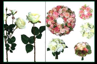 esposizione fiori finti per composizioni