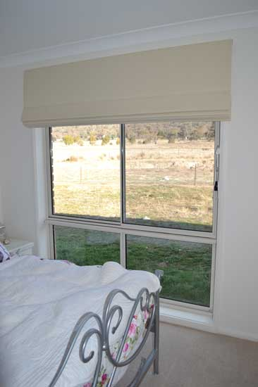 four pane window with bream blinds