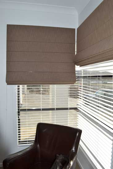 brown blinds over white blinds