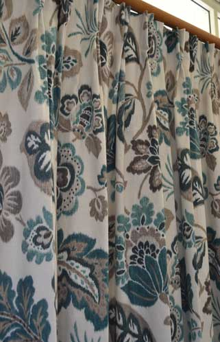 teal and brown floral curtain