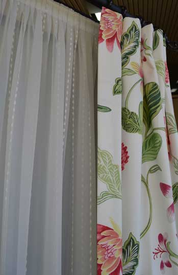 shear white with floral curtain