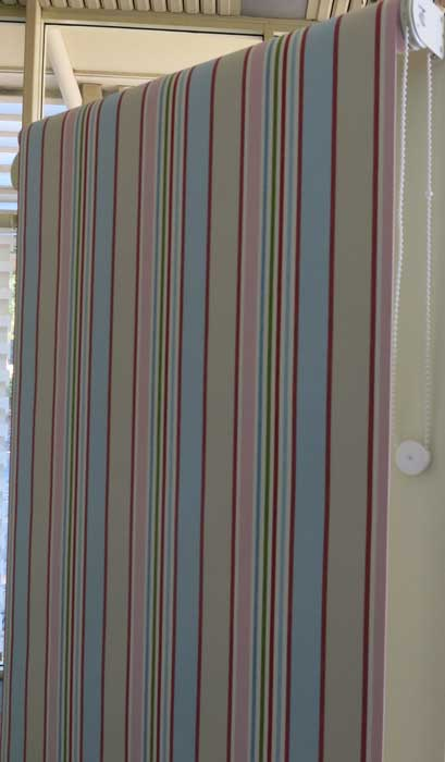 stripped curtain with pink