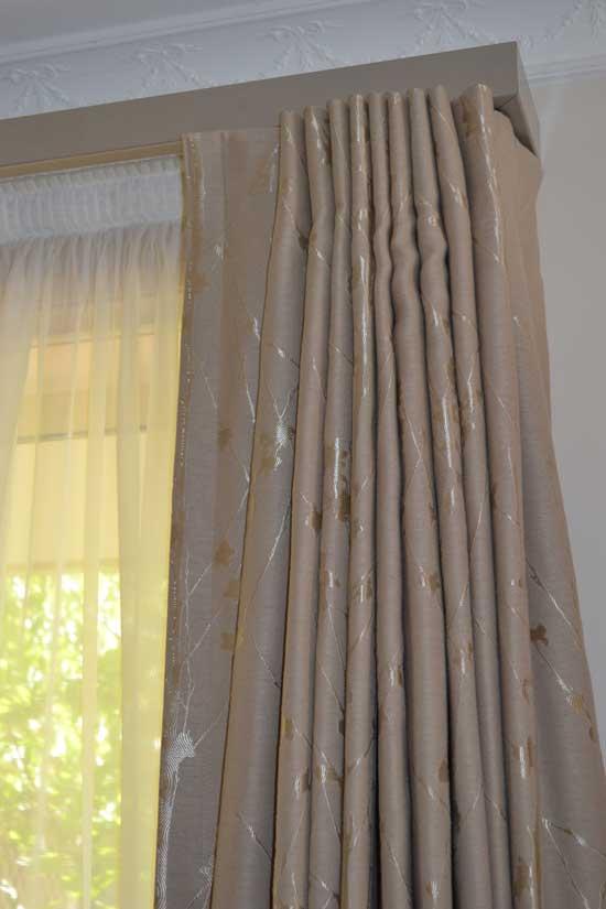 peach curtains on track