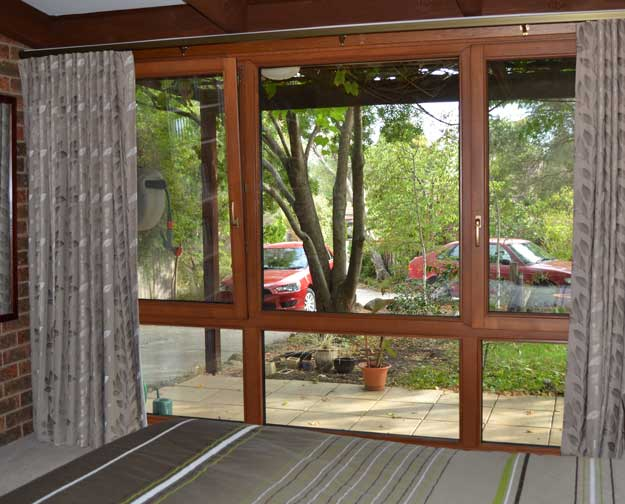 wood bordered window
