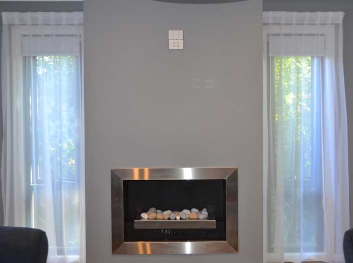 fireplace against wall