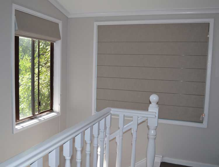 closed blinds near stairs