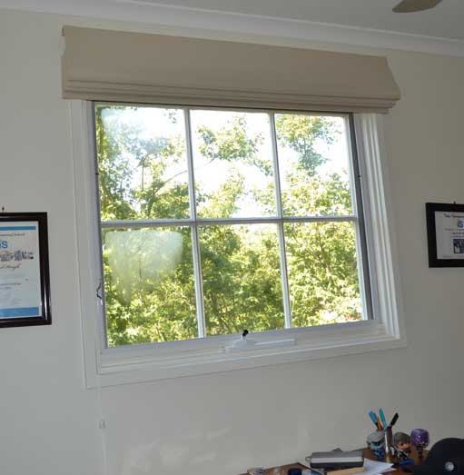 open window with trees outside
