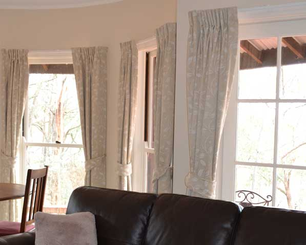 several sets of curtains three