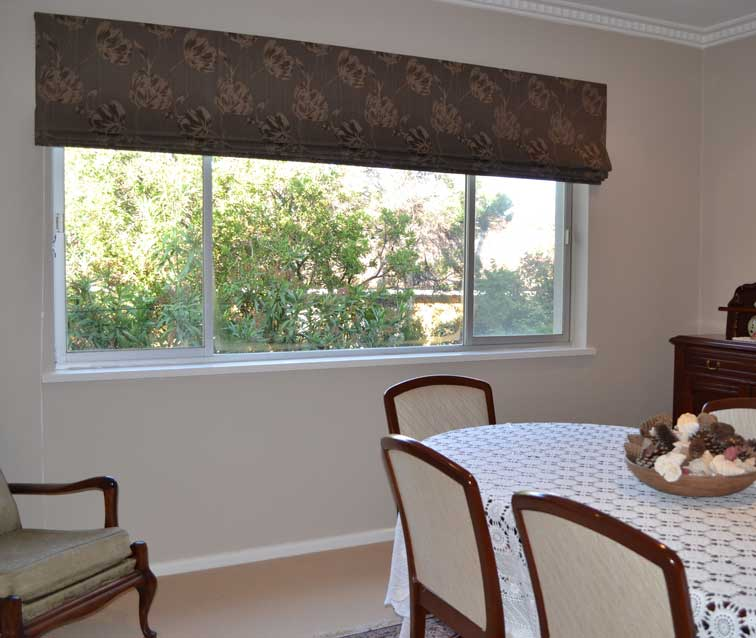 patterned shade in dining room opened