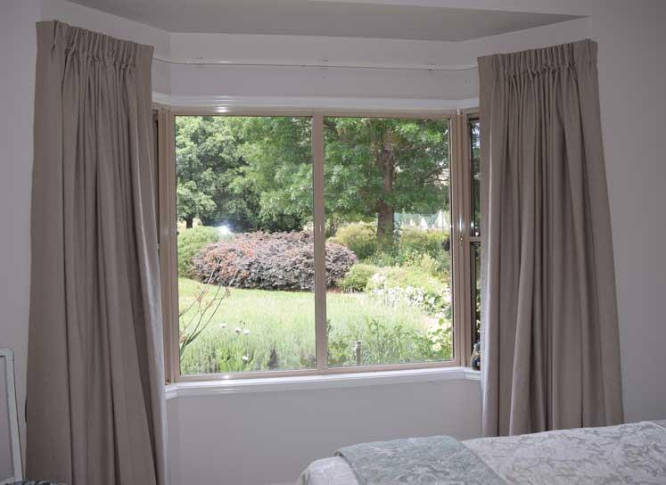 simple curtains overlooking garden