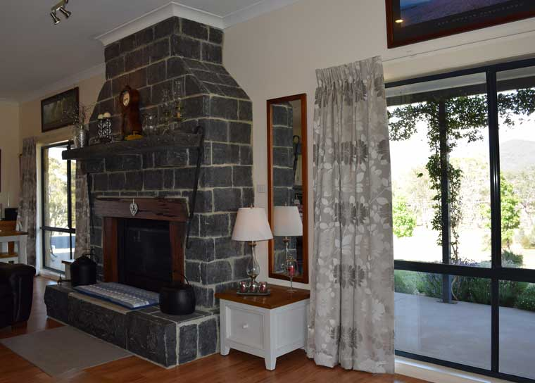 curtains with large fire place