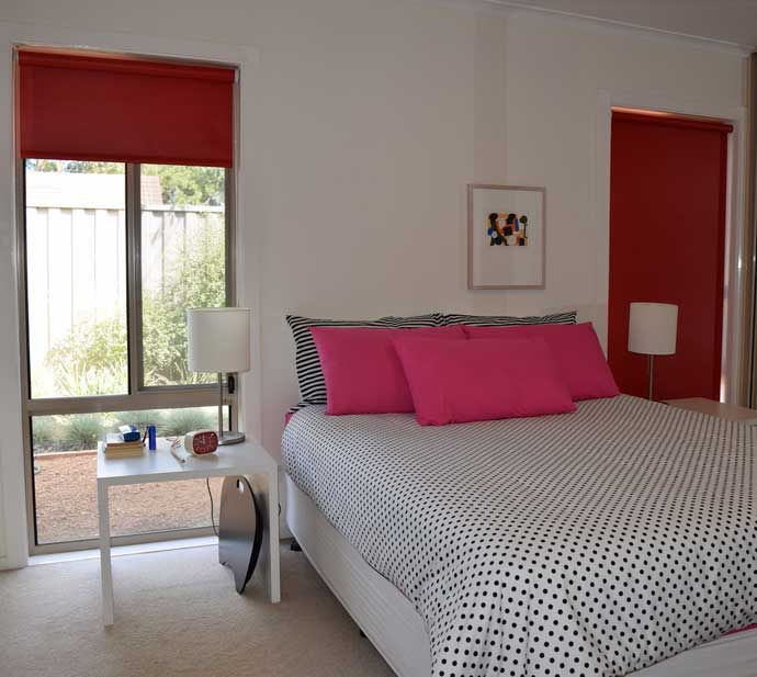 bright red shades for bedroom