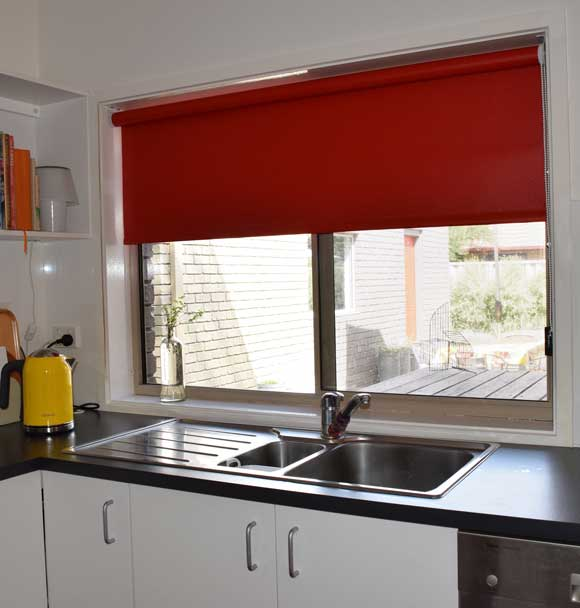 bright red shades for kitchen