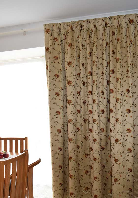 red and gold patterned curtains