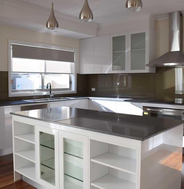 blinds in modern white kitchen