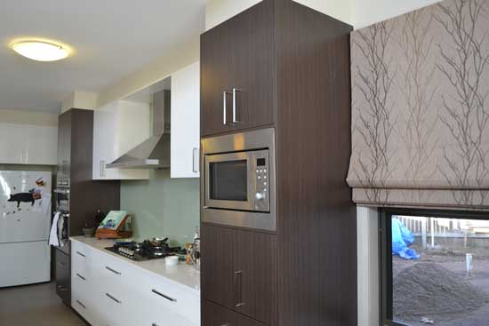 microwave on wood cabinets