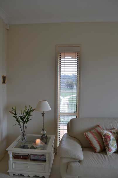 thin window with blinds by couch