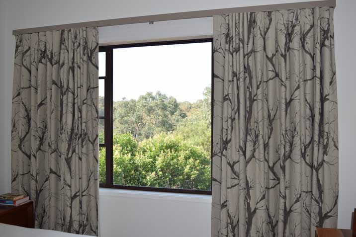 large patterned curtains on window