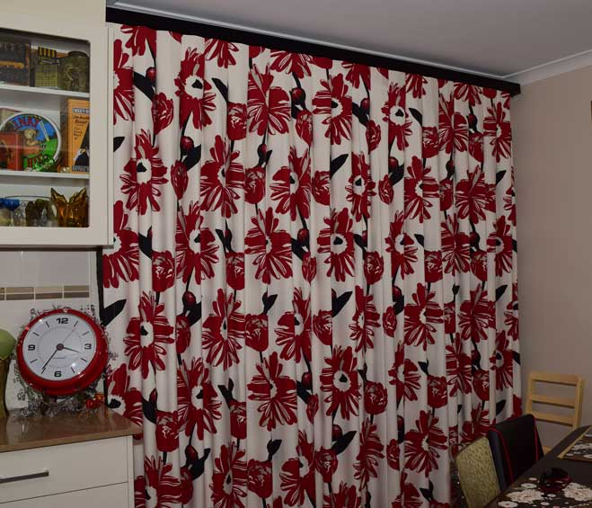 red patterned curtain