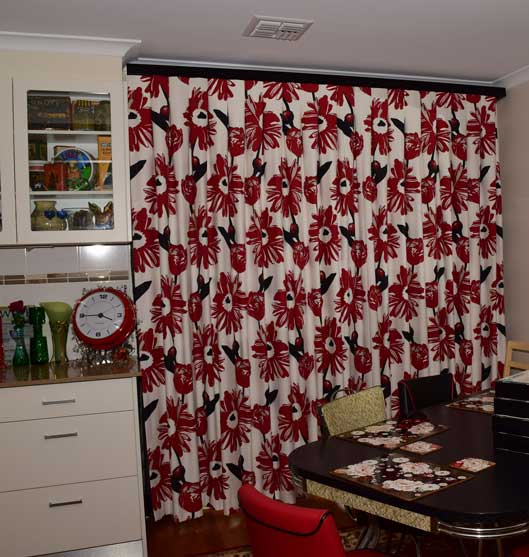 red black and white curtains