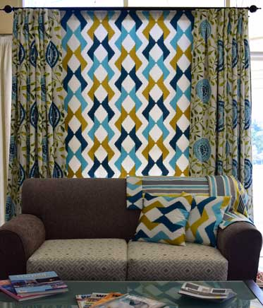 mixed and colourful curtain patterns