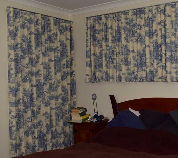 two blue and white curtains