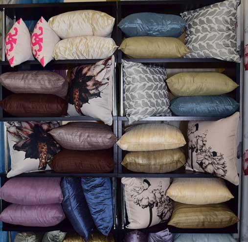 shelf of pillows