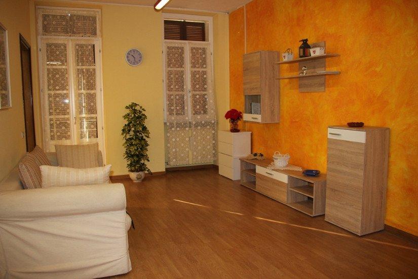 un salotto con divano, due finestre, un vaso con una pianta e un mobile tv