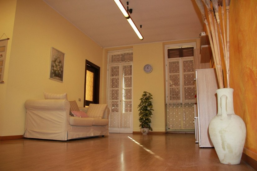 un salotto con vista di due finestre, un vaso con una pianta e un divano