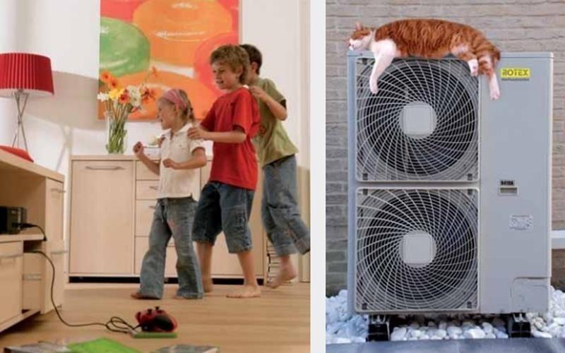 Bambini che giocano e gatto sopra un condizionatore