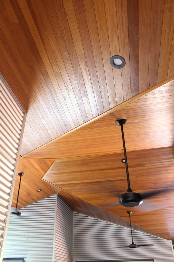 Wooden ceiling with handing lights