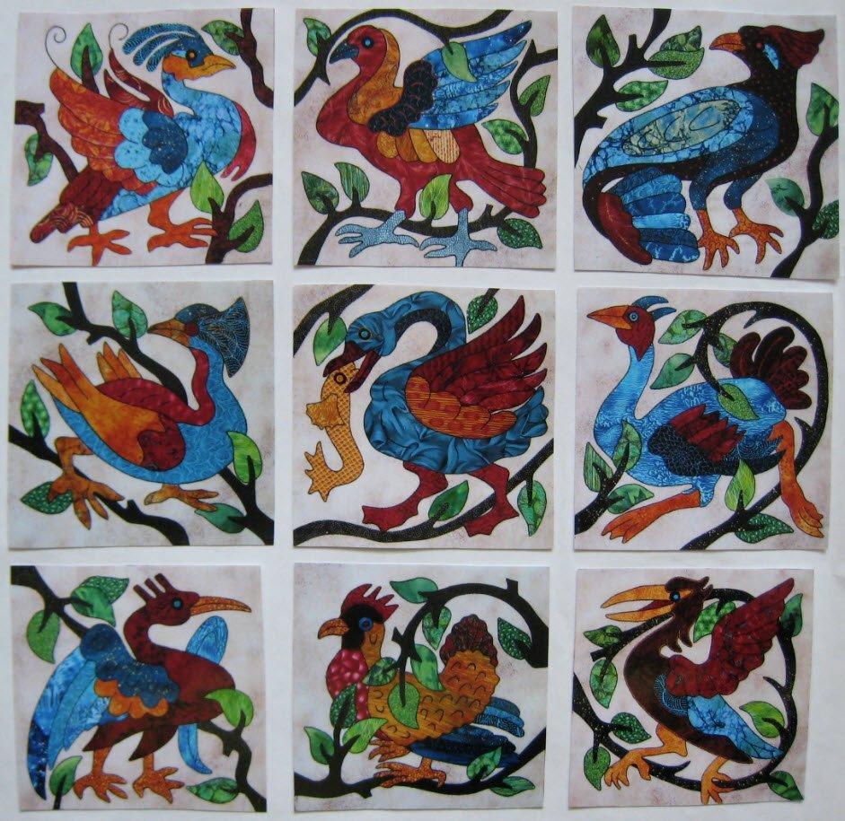 Nine Wacky Birds Blocks by Suzanne Marshall, a Quilt Maker