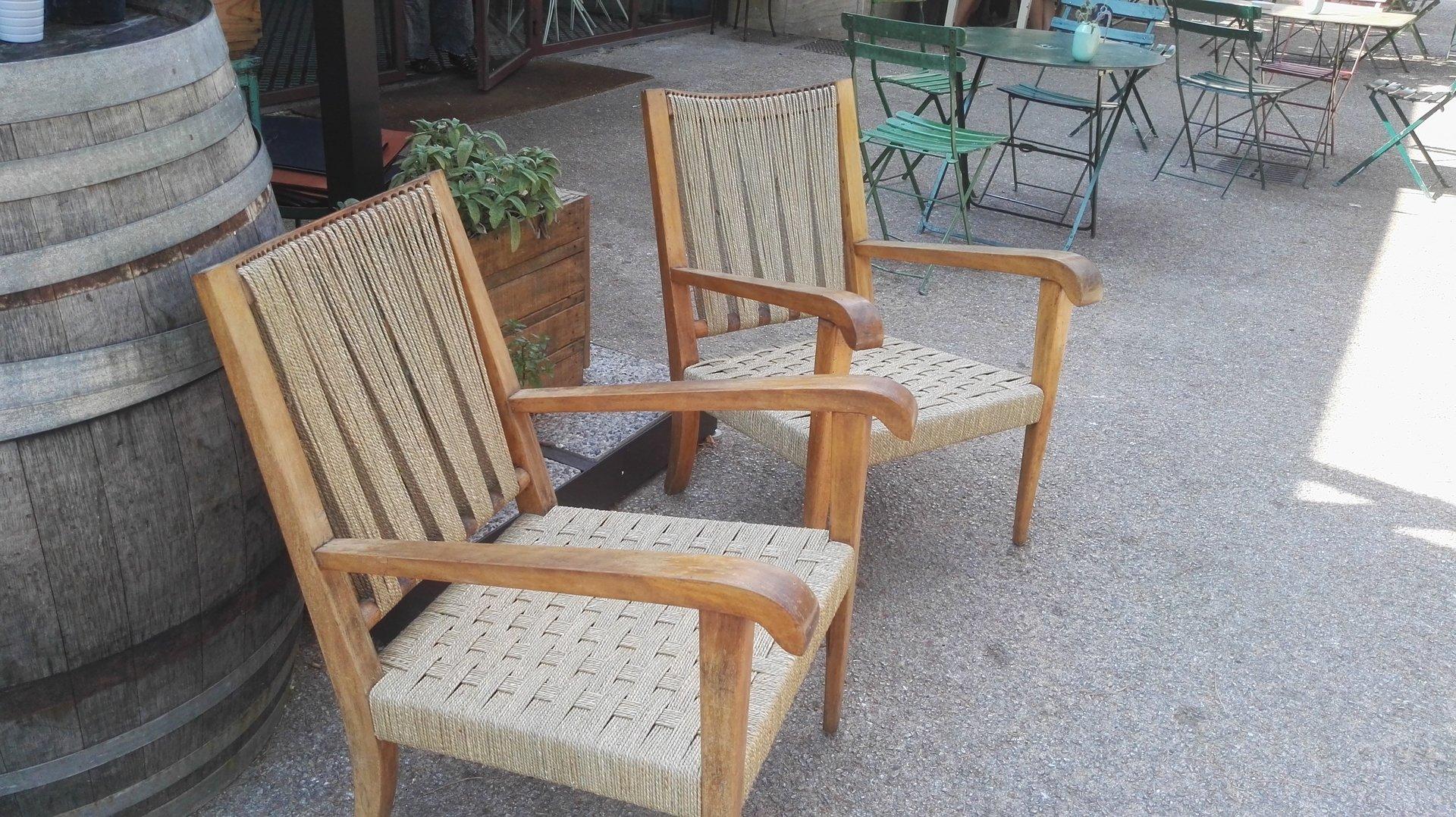 coppia di sedie con schienale e seduta in paglia intrecciata